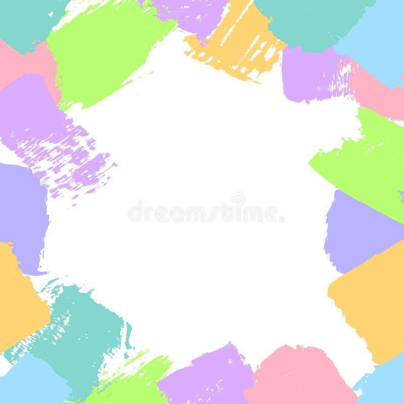 Abstract different brush strokes shapes in candy colors border frame fun texture. Background vector illustration