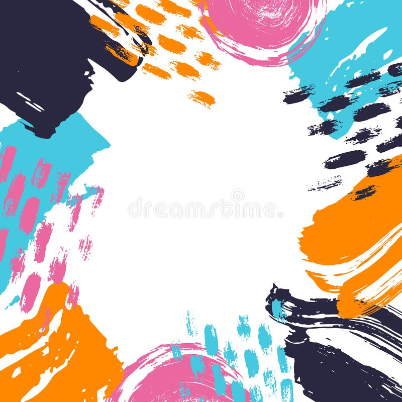 Abstract different brush strokes shapes colorful border frame fun texture. Background stock illustration
