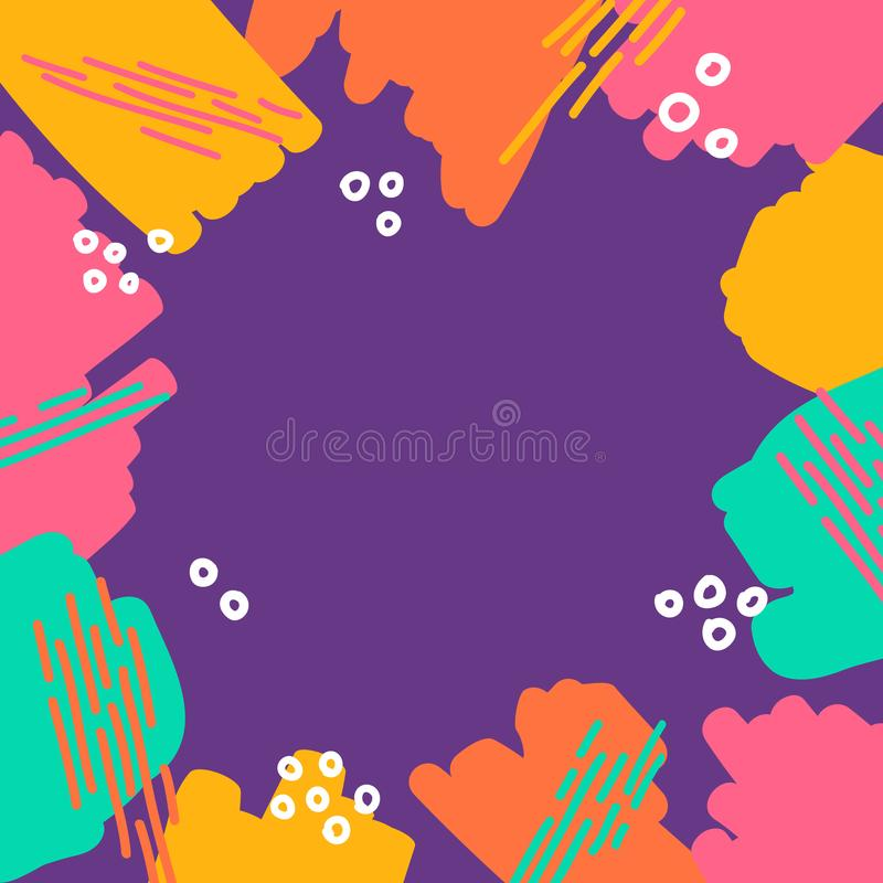 Abstract different marker strokes shapes colorful border frame fun texture background i. N purple pink orange yellow vibrant colors stock illustration