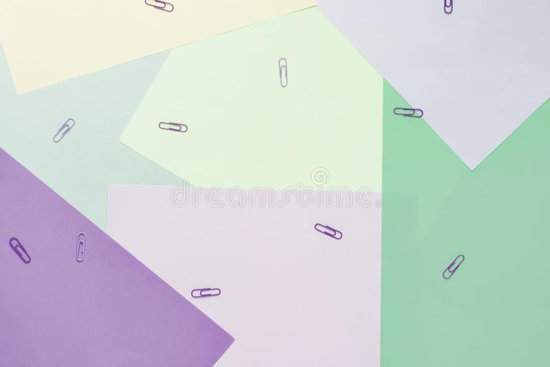 Abstract different multicolored pastel backgrounds with clips and place for text. Top view royalty free stock image