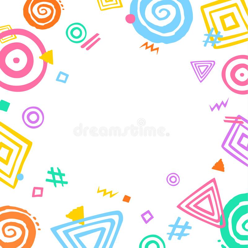 Abstract different shapes border frame fun background with place for text royalty free illustration