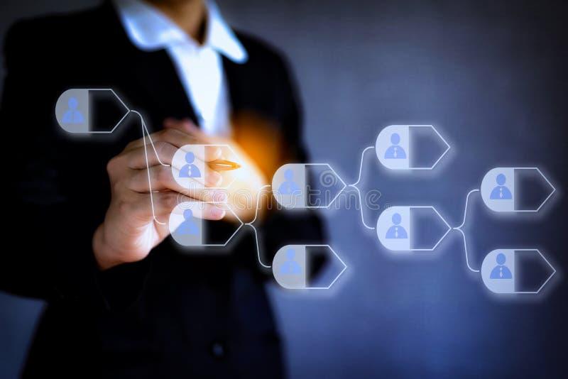 Abstract digitaal concept technologie blockchain zaken Bedrijfshand een pen houden die duwend met de verbinding van het pictogram royalty-vrije stock afbeelding