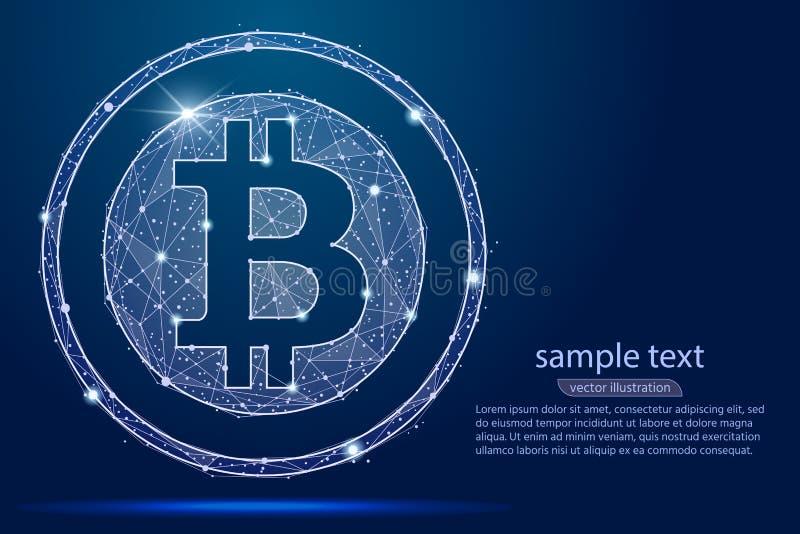 Abstract digitaal de muntmuntstuk van Bitcoin van de lage polyachtergrond van wireframesterren Vector abstract veelhoekig beeld royalty-vrije illustratie