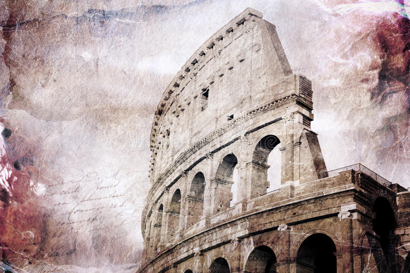 Abstract digital art of Colosseum, Rome. Old paper. Postcard, high resolution, printable on canvas stock illustration