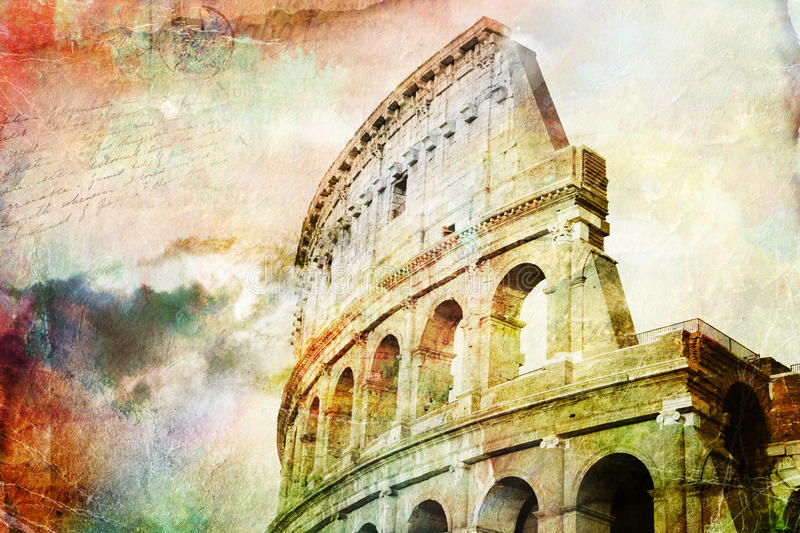 Abstract digital art of Colosseum, Rome. Old paper. Postcard, high resolution, printable on canvas vector illustration