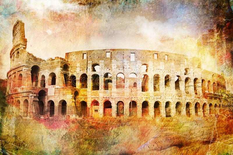Abstract digital art of Colosseum, Rome. Old paper. Postcard, high resolution, printable on canvas royalty free illustration