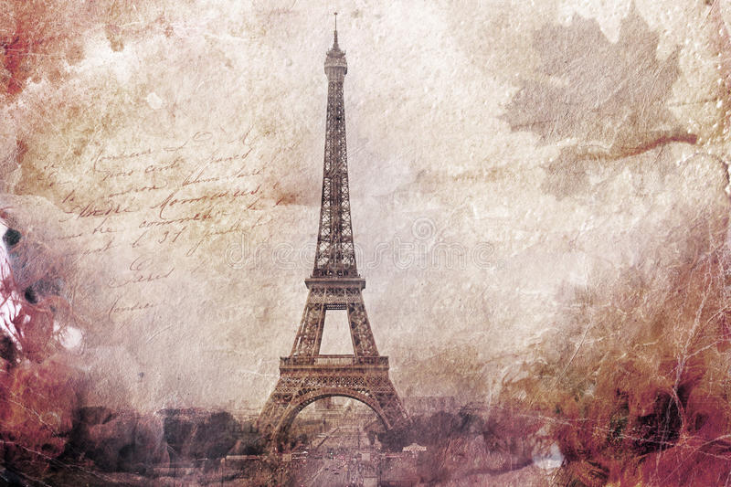 Abstract digital art of Eiffel Tower in Paris, brown. Old paper. Postcard, high resolution, printable on canvas vector illustration
