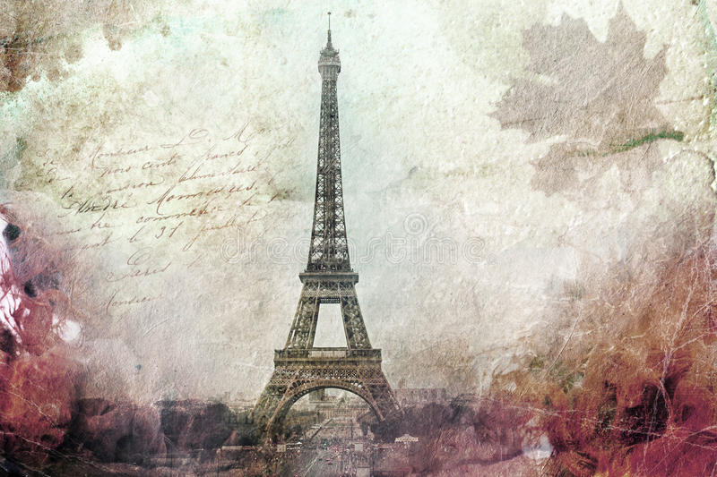 Abstract digital art of Eiffel Tower in Paris, green. Old paper. Postcard, high resolution, printable on canvas stock illustration