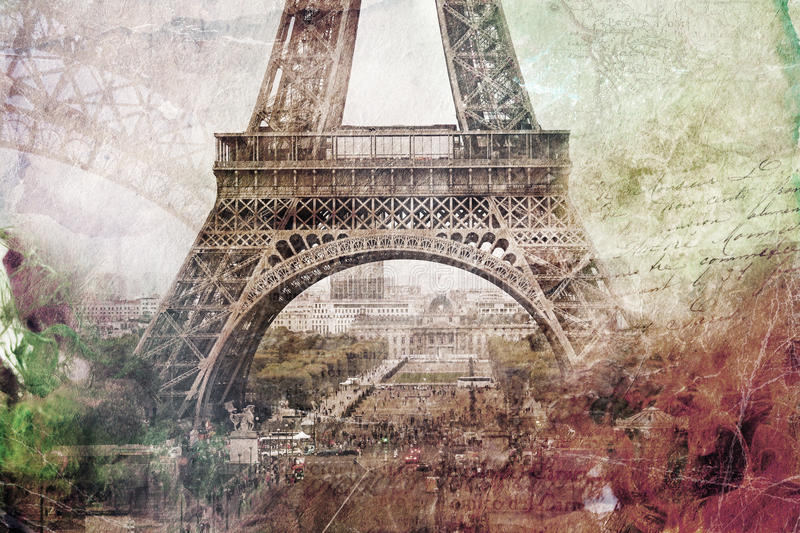 Abstract digital art of Eiffel Tower in Paris. Old paper. Digital art, high resolution, printable on canvas stock illustration