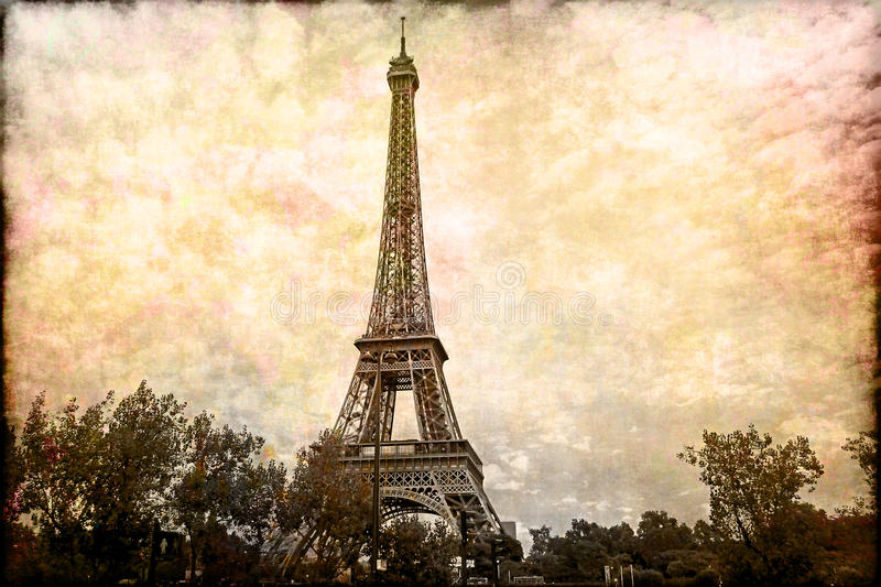 Abstract digital art of Eiffel Tower in Paris. Old paper. Postcard, high resolution, printable on canvas royalty free illustration