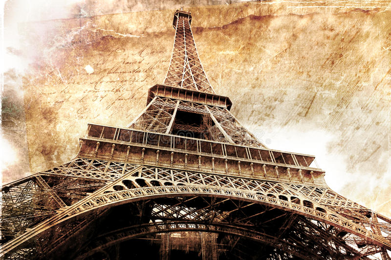 Abstract Digital Art Of Eiffel Tower In Paris. Old Paper