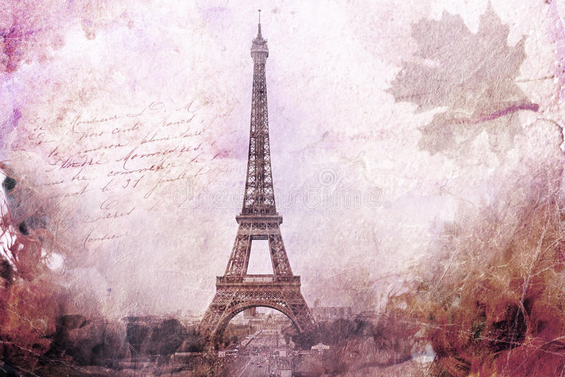 Abstract Digital Art Of Eiffel Tower In Paris, Purple. Old