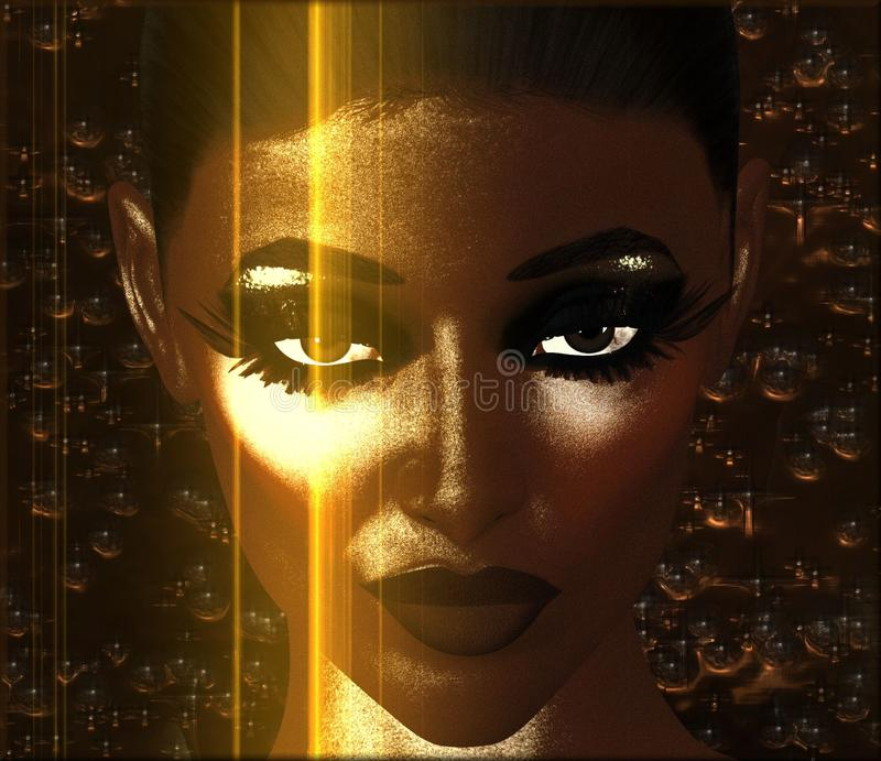 Abstract digital art image of woman's face and gold light, close up. A digital art, abstract image of a beauty and fashion model's face close up. Champagne stock illustration