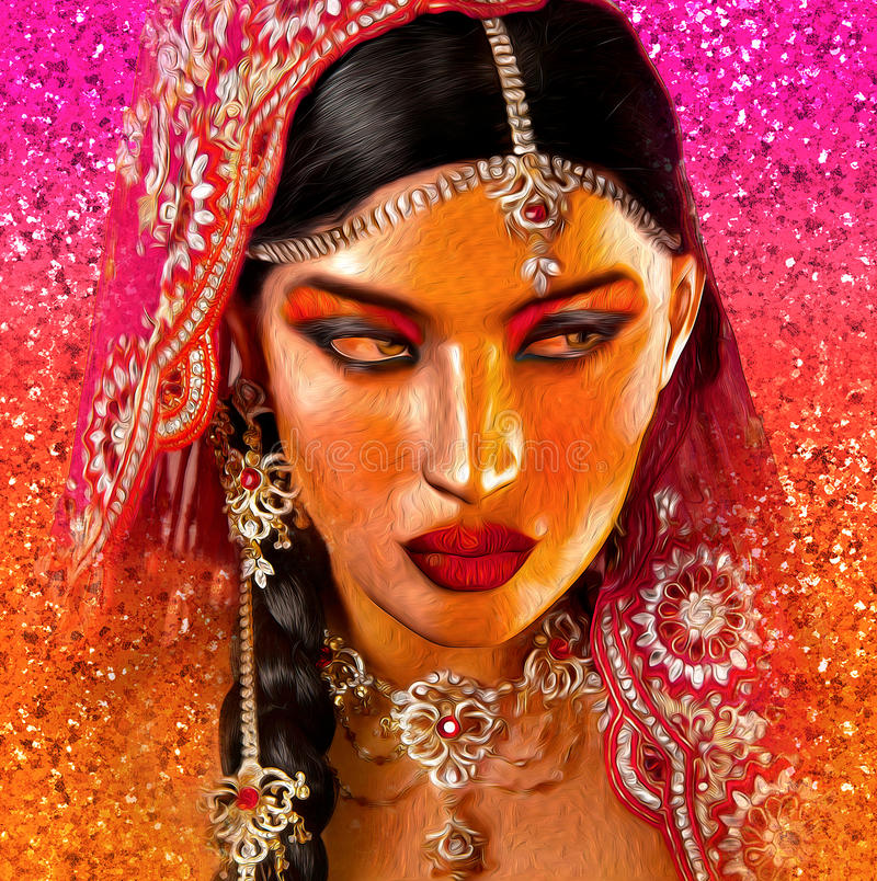 Abstract digital art of Indian or Asian woman's face, close up with colorful veil. An oil paint effect and glowing lights are added for a more modern art look royalty free stock photos