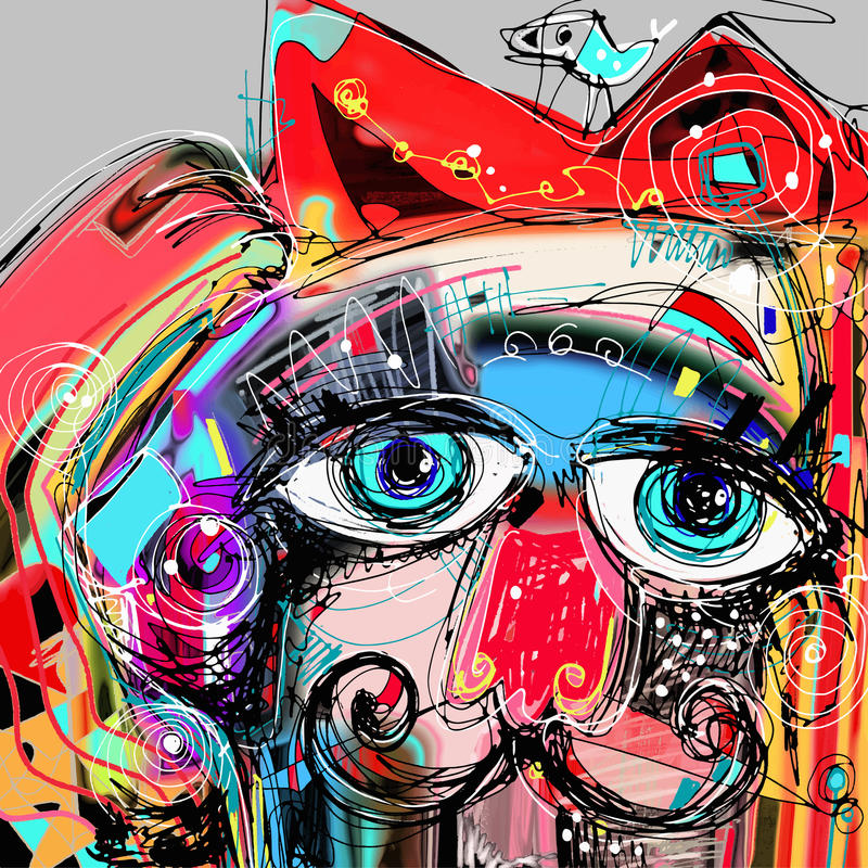 Abstract digital artwork painting portrait of cat. Mustaches with a bird on a head, doodle art vector illustration vector illustration