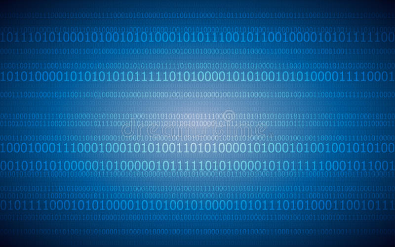 Abstract digital background with binary code pattern on dark blue color royalty free illustration