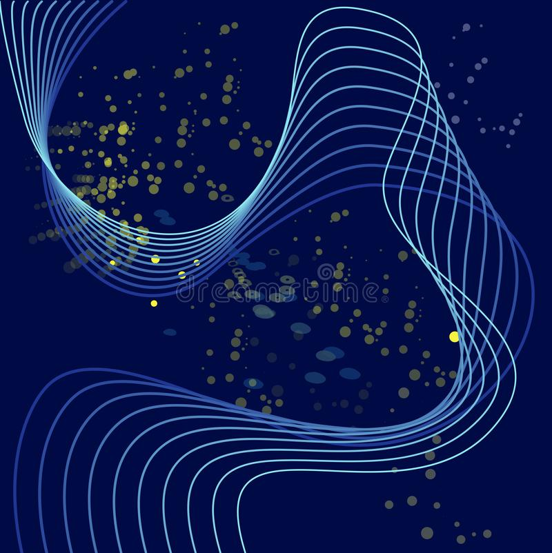 Abstract digital background with flowing particles. Cyber or technology background.Vector illustration. dark blue stock illustration