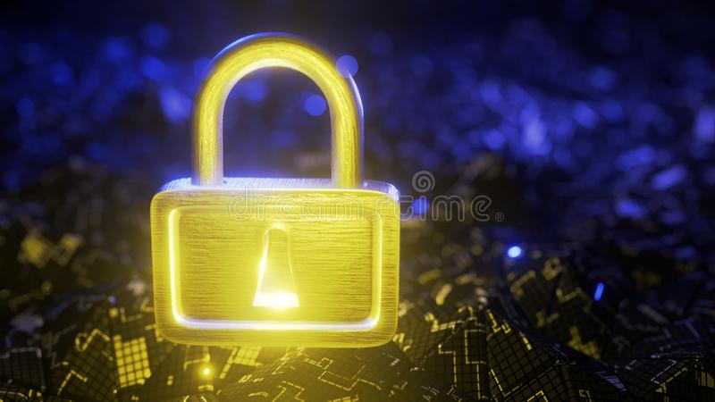 Abstract digital background. Padlock on a digital background. 3d render royalty free stock images