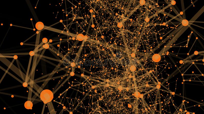 Abstract digital background, Plexus effect. Abstract polygonal background with connecting dots and lines. Connection technology stock illustration