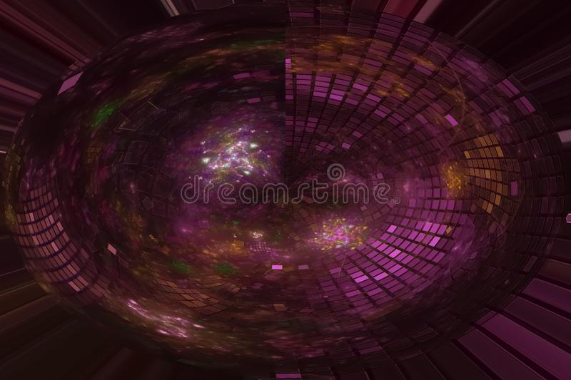 Abstract digital beautiful fractal sparkle science swirl imagination wave vibrant chaos fantasy design artistic, glowing royalty free illustration