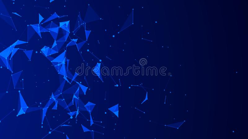 Abstract digital blue background. Plexus effect. Network connection structure. 3D rendering vector illustration