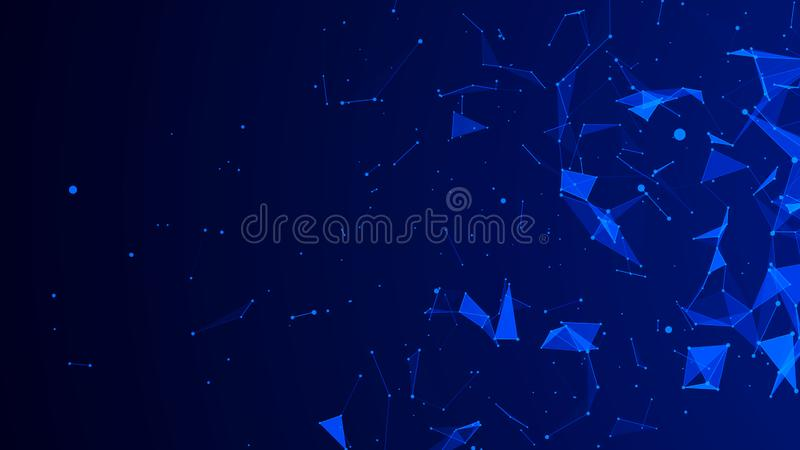 Abstract digital blue background. Plexus effect. Network connection structure. 3D rendering stock illustration