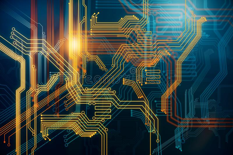 Digital circuit background. Abstract digital circuit background. Technology and computer hardware concept. 3D Rendering vector illustration