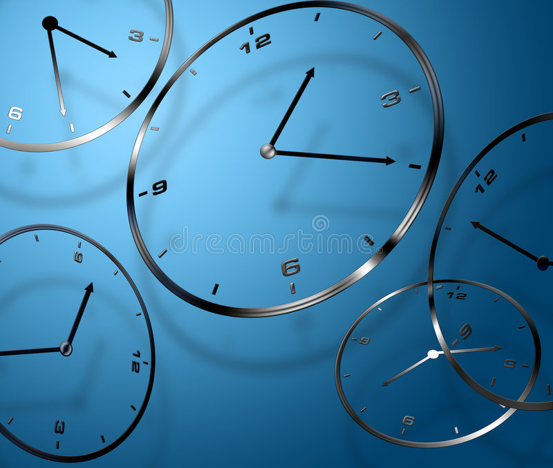 Abstract digital clocks. Abstract digitally created clocks on blue background