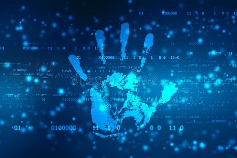Security concept: hand print and data protection on digital screen stock illustration