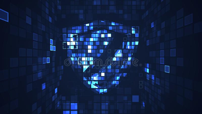 Abstract digital cyber protection security technology graphic background. royalty free illustration