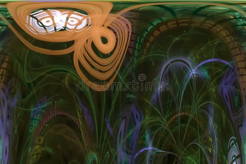 Abstract digital fractal explosion decoration surreal fantasy magic, dynamic, overlay design futuristic. Abstract digital fractal fantasy design stock illustration