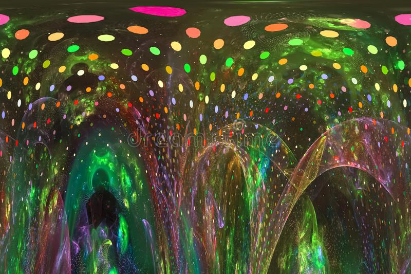 Abstract digital fractal surreal  fantasy magic, dynamic, overlay  design futuristic. Abstract digital fractal fantasy design stock illustration