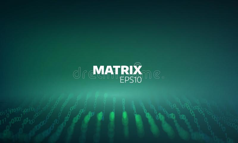 Abstract digital grid. Bit matrix cyberspace. Coding process. Futuristic data flow royalty free illustration