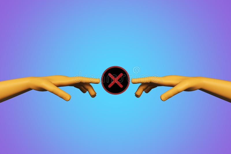 Partnership and denial concept. Abstract digital hands with red cross X on blue background. Partnership and denial concept. 3D Rendering stock illustration