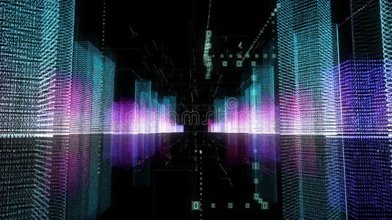 Abstract digital hologram 3D illustration of city with futuristic matrix royalty free illustration