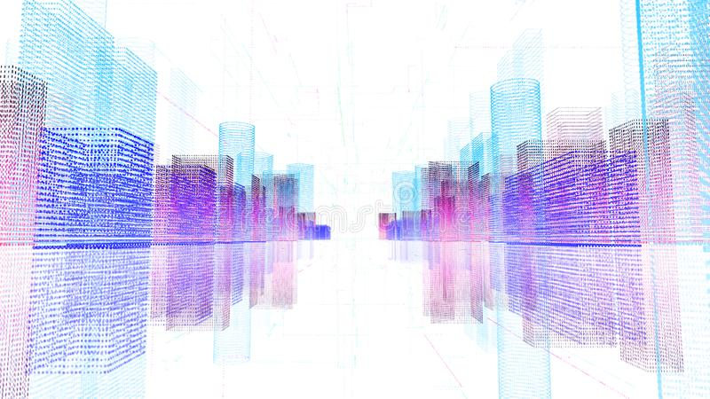 Abstract digital hologram 3D illustration of city with futuristic matrix stock illustration