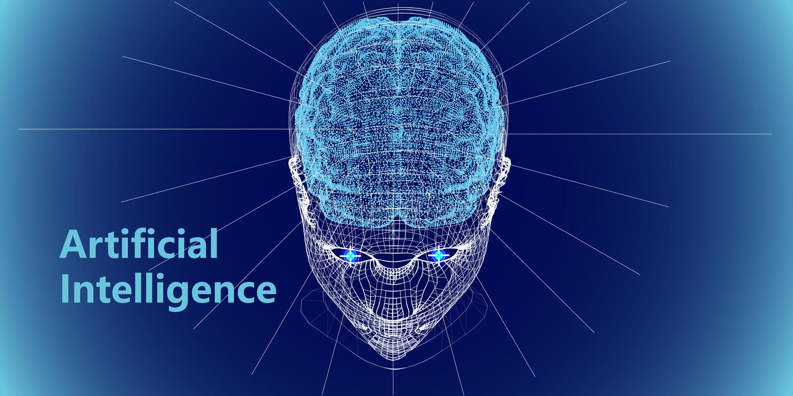 Abstract digital human head and brain. Artificial intelligence concept.  Robotic  wireframe head concept. Vector illustration royalty free stock photography