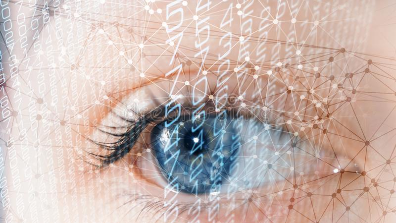 People identity scanning system, biometric digital data process. Abstract digital identification, human face scanning system stock photography