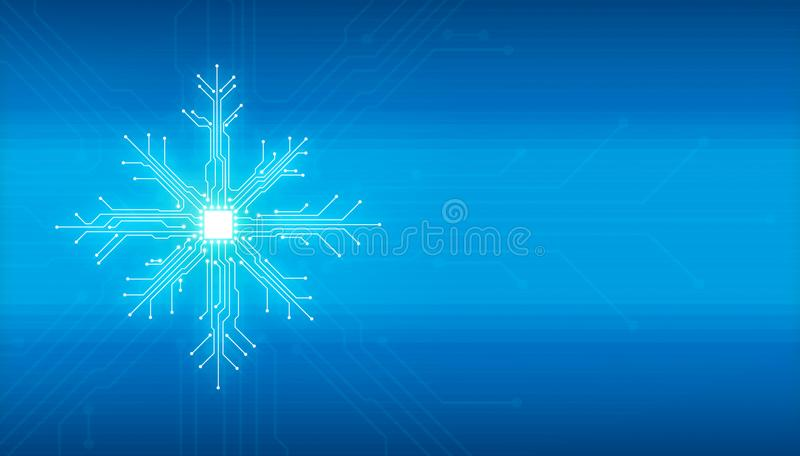 Showflake new year christmas technology concept. Abstract digital illustration of microchip board on snowflake shape on blue background. Technology concept image royalty free illustration