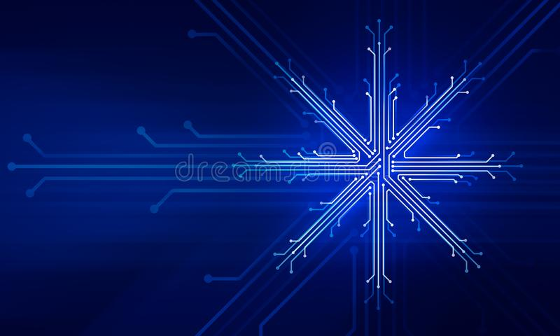 Showflake new year christmas technology concept royalty free illustration