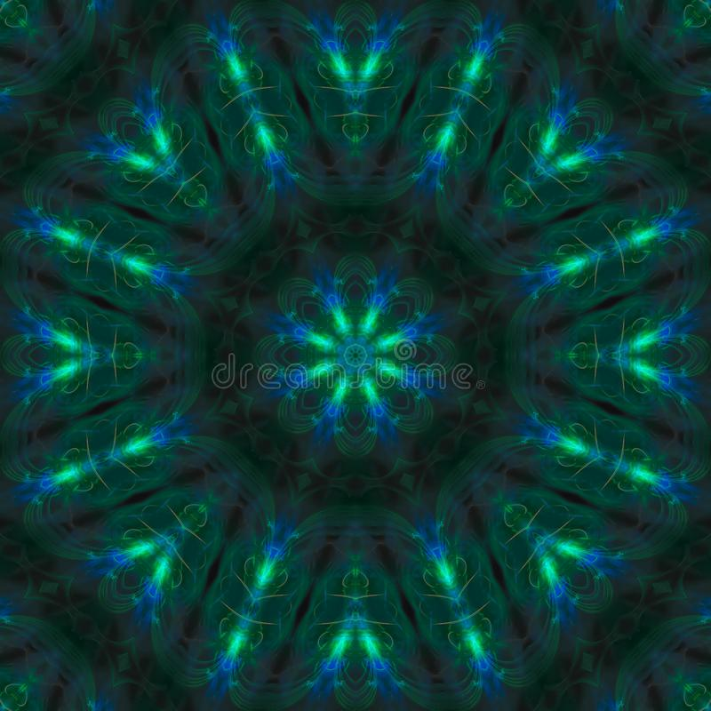 Abstract kaleidoscope effect magic mandala decoration style, design symmetrical. Abstract digital kaleidoscope mandala style design energy effect symmetrical vector illustration