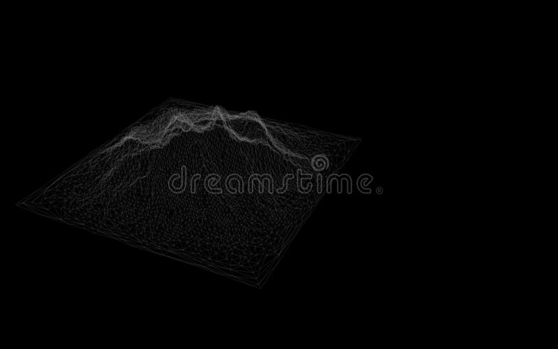 Abstract digital landscape with particles dots and stars on horizon. Wireframe landscape background. Big Data. 3d futuristic vecto vector illustration
