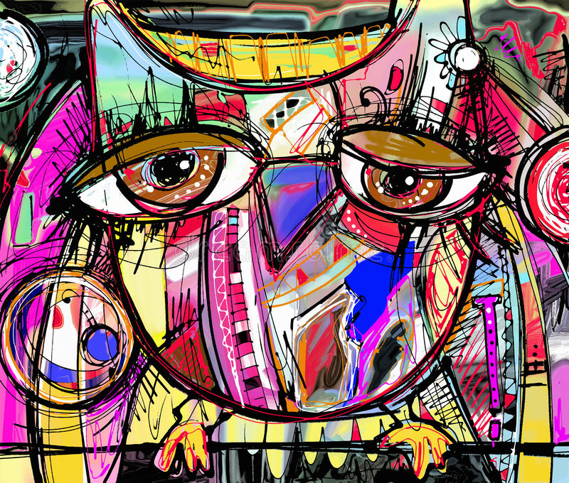 Abstract digital painting artwork of doodle owl. Original abstract digital painting artwork of doodle owl, colored poster print pattern, vector illustration royalty free illustration