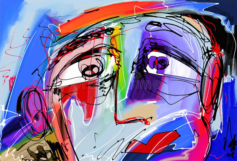 Abstract digital painting of human face. Original abstract digital painting of human face, colorful composition in contemporary modern art, perfect for interior vector illustration