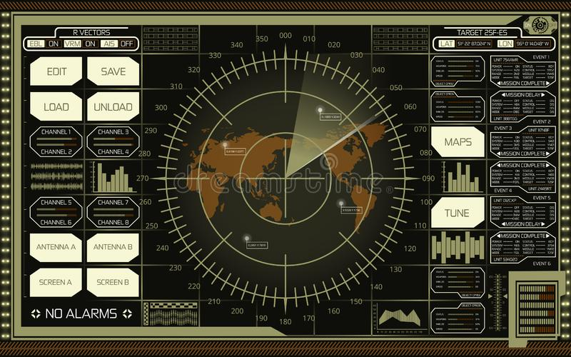 Digital radar screen with world map, targets and futuristic user interface of green, white and brown shades on dark background stock illustration