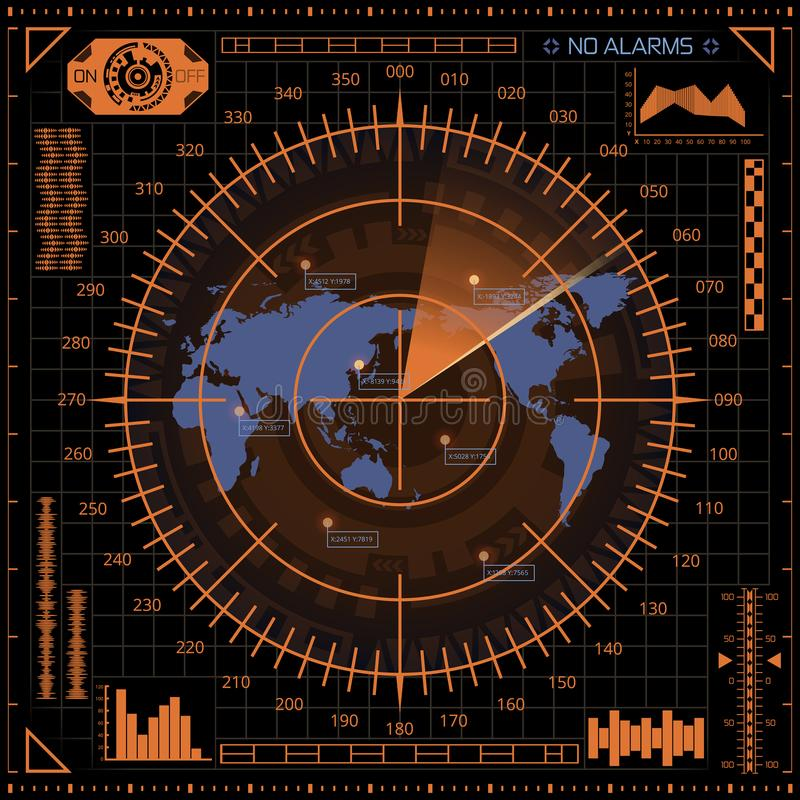 Digital radar screen with world map, targets and futuristic user interface of orange and blue shades on dark background stock illustration