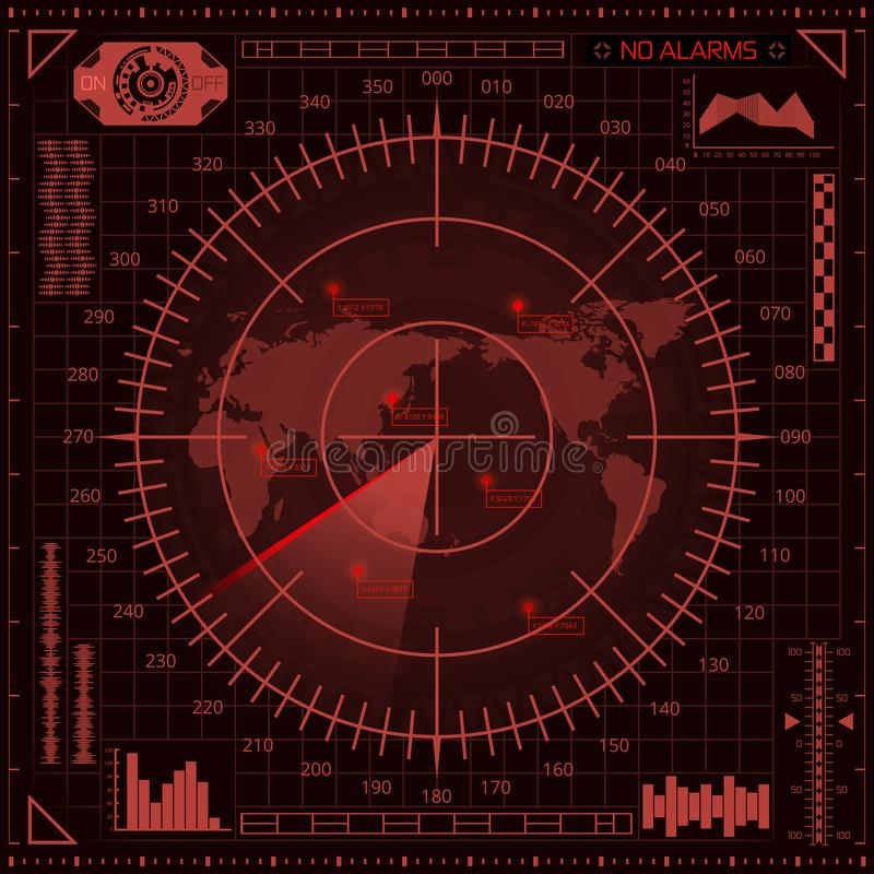 Digital radar screen with world map, targets and futuristic user interface of red shades. Abstract digital radar screen with world map, targets and futuristic stock illustration
