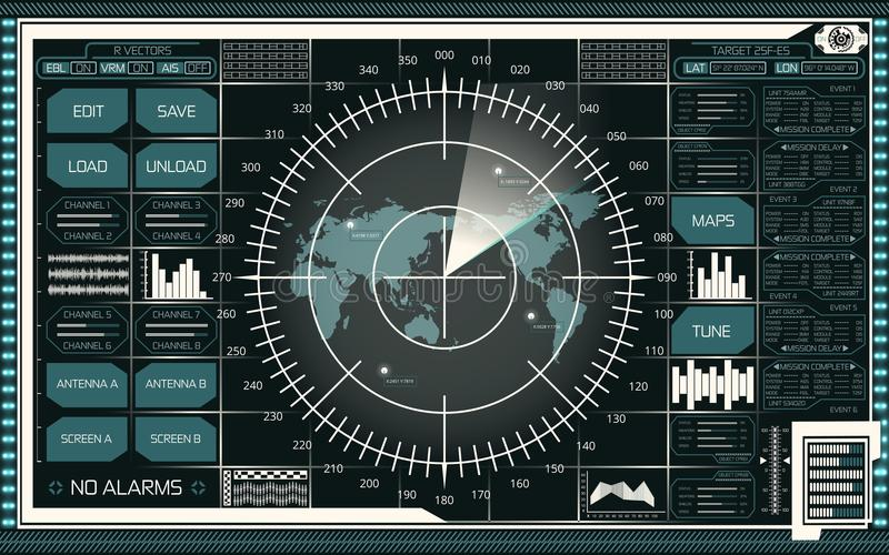Digital radar screen with world map, targets and futuristic user interface of teal and white shades on dark background stock illustration