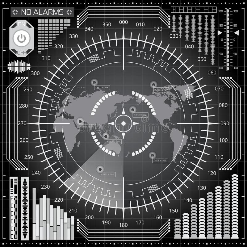 Digital radar screen with world map, targets and futuristic user interface of white, gray and black shades. Abstract digital radar screen with world map, targets stock illustration