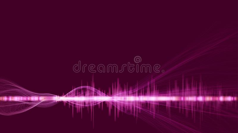 Abstract digital technology background. Futuristic sci-fi user interface concept with digital wave foram and lines for Big data, royalty free illustration